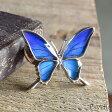 ブローチ 蝶 ピンブローチ バタフライ (Psyche)(オーダー品)(Psyche)本物の蝶の羽 シャープな羽の蝶 シルバー925 ピンブローチ 蝶々 バタフライ タミラスムラサキシジミ