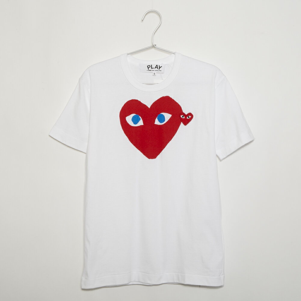トップス, Tシャツ・カットソー 564 20 2020 T PLAY RED DOUBLE HEART SS TEE AZ-T086-051 1 WHITE COMME des GARCONS