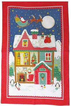ULSTER WEAVERS アルスターウィーバーズ社製 ティータオル 100% リネン Santa's Workshop UWTT084 クリスマス サンタクロース キッチン雑貨 タペストリー キッチンタオル カバー 飾り