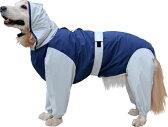 大型犬用レインコート 超はっ水・安全コート 【ネイビー×ライトグレー】大型犬 レインコート