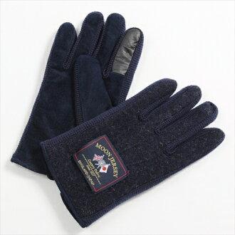 保暖手套觸控式螢幕智慧手機智能手機為海軍藍色黑鐵手套平原君羊毛豬皮革絨面革澤西針織用的日本其他男人的店是在溫暖的冬天月亮是要麼冷 OZIE