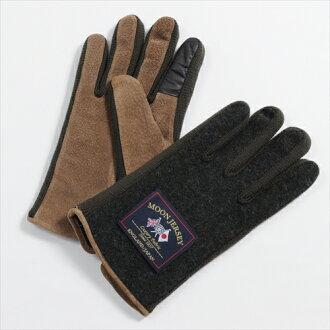 保暖手套觸控式螢幕智慧手機智能手機為綠色綠色手套平原君羊毛豬皮革絨面革澤西針織用的日本其他男人的店是在溫暖的冬天月亮是要麼冷 OZIE