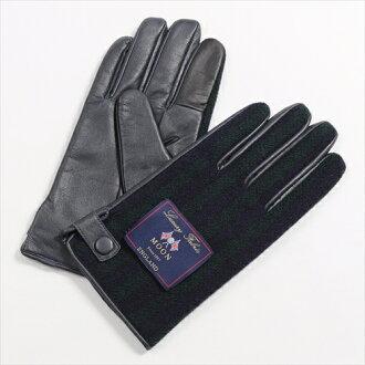 保暖手套觸摸智慧手機智能手機為海軍藍色暗藍綠色手套條紋紳士羊毛皮革粗花呢月亮在的日本其他男人的專賣店有一個溫暖的冬天是要麼冷 OZIE