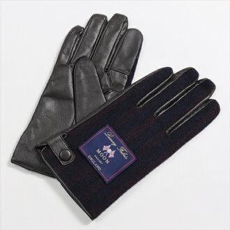 保暖手套觸控式螢幕智慧手機智能手機為海軍藍色海軍紫色手套條紋紳士羊毛皮革粗花呢月亮做在日本其他男人的商店是一個溫暖的冬天或寒冷的天氣手套 OZIE