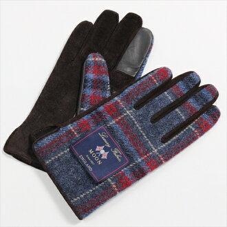 在溫暖的冬天保暖手套觸控式螢幕智慧手機智能手機為藍色藍色手套檢查紳士羊毛皮革豬皮革麂皮絨粗花呢月亮做在日本其他男人的商店是要麼冷 OZIE