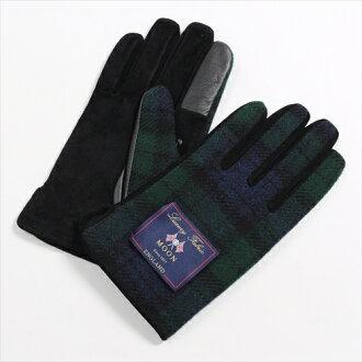 在溫暖的冬天保暖手套觸控式螢幕智慧手機智能手機為綠色綠色手套檢查紳士羊毛皮革豬皮革麂皮絨粗花呢月亮做在日本其他男人的商店是要麼冷 OZIE