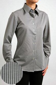 Biz 馬球針織婦女長袖襯衫自然適合提供廣泛的顏色在日本灰色綠色條紋婦女