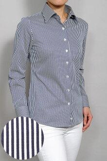 Biz 馬球針織婦女長袖襯衫適合的 CoolMax 護理寬本色在日本日本海軍條紋海軍婦女