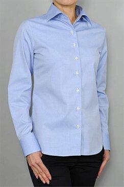 レディースシャツ レディース ワイシャツ | シャツ ブルー 青 ドレスシャツ 長袖 ビジネス ノーアイロン yシャツ 綿100% 長袖シャツ ブラウス おしゃれ 形態安定 日本製 ビジネスシャツ 形状記憶 カッターシャツ ボタンダウン しわになりにくい オックスフォード