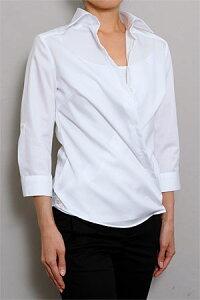 フェミニンさをアピールできるカシュクールシャツワイシャツ ベーシックなシャツとしても着られ...