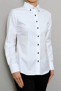 上品な光沢感&スリムなボタンダウン白シャツワイシャツ衿立ちのいいメンズ仕立てのレディース...