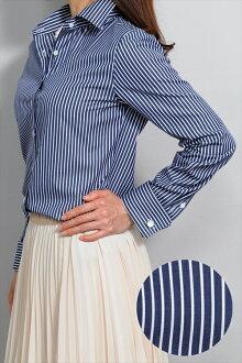 女士襯衫女士襯衫自然適合雙牛長袖襯衫寬幅彩色襯衫 100%棉條紋在日本日本 OL 上衣襯衫棉襯衫 OZIE 寬頻的深藍色的黑頭髮女人襯衫襯衫商務襯衫