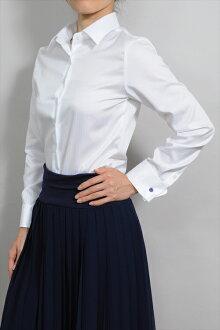 女士襯衫女士襯衫自然適合雙牛長長的袖子襯衫寬幅彩色襯衫形式穩定 100 最快純色白色白色襯衫婦女在日本日本 OL 上衣襯衫 OZIE 人字的襯衫長袖襯衫商務襯衫