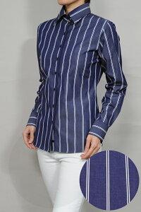 レディース シャツ ワイシャツ| ドレスシャツ 長袖 ビジネス yシャツ おしゃれ ブラウス 日本製 ビジネスシャツ オフィス カッターシャツ 綿100% プレミアムコットン 大きいサイズ 4L ネイビー 紺 女性用 ワイドカラー オシャレ