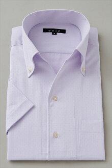 男式短袖襯衫短袖 Y 襯衫短袖襯衫 CoolMax 隊長型襯衫義大利領襯衫緊身按鈕式顏色紫色紫色大尺寸超薄襯衫
