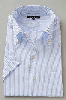偉大的短袖襯衫短袖 Y 襯衫短袖襯衫 CoolMax 義大利襯衫襯衫連衣裙緊身襯衫顏色藍藍尺寸男裝苗條襯衫