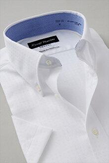 男式短袖襯衫短袖 Y 襯衫短袖襯衫形式穩定襯衫穿定期發作的襯衫紐扣顏色白色平原點綴在白色大尺寸超薄襯衫