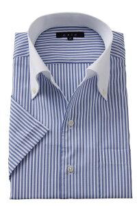 半袖ワイシャツ yシャツ 半袖シャツ クールマックス 高級   イタリアンカラー シャツ メンズ ワイシャツ おしゃれ ドレスシャツ ビジネス ノーネクタイ ボタンダウンシャツ クールビズ スリム ボタンダウン ビジネスシャツ 青 メンズドレスシャツ 夏 涼しい 夏用 クール cool
