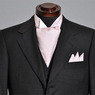 有有領巾式領帶主任安排絲綢100%點花紋日本製造國產粉紅口袋主任的婚禮領巾式領帶結束動畫,供領巾式領帶主任安排人男性使用的專營商店禮物OZIE