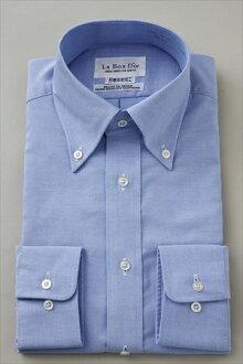 [形成穩定形狀記憶男士禮服襯衫長袖襯衫 Y 襯衫經常適合紐扣顏色為藍色藍色純] 男子在日本長袖襯衫 [00020233] 所作的樂天刀具免燙商務襯衫