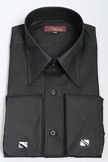 加倍的 FSU 襯衫禮服襯衫長袖襯衫緊適合苗條纖細的廣彩黑黑的平原襯衫商務襯衫黃銅袖扣集正式長袖襯衫禮儀袖口襯衫 OZIE 袖口襯衫襯衫