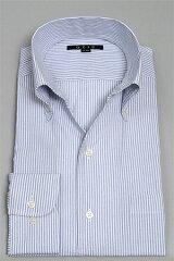 [イタリアンカラーシャツ メンズ ドレスシャツ 長袖ワイシャツ Yシャツ]タイトフィット シアサッカー スキッパーシャツ ボタンダウンカラー ネイビー 紺 ストライプ柄 スリム細身 カッターシャツ ビジネスシャツ おしゃれ 男性用 トールサイズ〔00000283〕