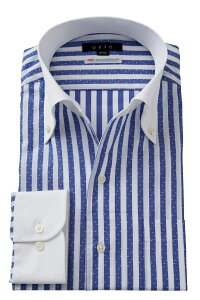 イタリアンカラー シャツ ドレスシャツ ワイシャツ | ブルー 青 メンズ クレリックシャツ おしゃれ ボタンダウンシャツ 長袖 ノーネクタイ Yシャツ ストライプ 高級 メンズドレスシャツ スリム ビジネスシャツ ビジネス ストライプシャツ 結婚式二次会 パーティー