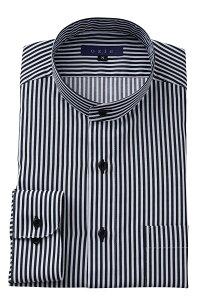 希少な衿型=スタンドカラーシャツ 長袖 | シャツ メンズ ワイシャツ おしゃれ スタンドカラー ドレスシャツ 綿100% 黒 マオカラー カッターシャツ Yシャツ 長袖ワイシャツ 高級 ビジネス ビジネスシャツ バンドカラー バンドカラーシャツ カラーシャツ ストライプ