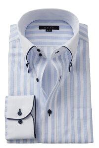 ドレスシャツ 長袖 高級 ワイシャツ ドゥエボットーニ ボタンダウンシャツ クレリックシャツ メンズ Yシャツ ビジネス ブルー 青| シャツ おしゃれ ノーネクタイ 綿100% カッターシャツ ストライプシャツ ビジネスシャツ カラーシャツ ボタンダウン メンズドレスシャツ