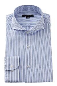 ドレスシャツ 長袖 高級 ワイシャツ | ホリゾンタルカラー シャツ メンズ ブルー 青 おしゃれ ビジネス クールビズ ホリゾンタル トールサイズ Yシャツ カッターシャツ スリム ビジネスシャツ タイト ホリゾンタルカラーシャツ 夏 涼しい ストライプ テレワーク 在宅 紳士