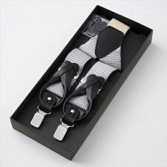 有供免運費的吊帶2WAY吊帶日本製造國產絲綢100%Y型35mm寬3.5cm寬度銀子千鳥格子形式上的休閒的懸挂帶·bureishizupantsu使用的牛皮皮革使用金屬零件的吊帶人男性事情專營商店禮物OZIE