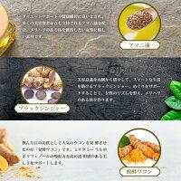 「アマニ油」「ブラックジンジャー」「醗酵ウコン」