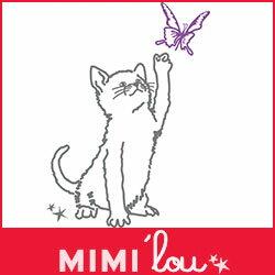 【 送料無料 】 ウォールステッカー フランス パリ ポップ ネコ 蝶  MIMI'lou ( ミミ・ル...