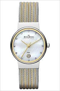 スカーゲン腕時計[SKAGEN時計]スカーゲン時計[SKAGEN腕時計]スカーゲン腕時計[SKAGEN時計]アンカーAncherレディース/ホワイト355SSGS[人気/新作/流行/ブランド/防水/メタルベルト/ゴールド/シルバー/シンプル/クリスタル/スワロフスキー][送料無料]