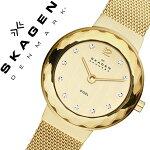 スカーゲン腕時計[SKAGEN時計]スカーゲン時計[SKAGEN腕時計]スカーゲン腕時計[SKAGEN時計]レオノーラLeonoraレディース/ゴールド456SGSG[人気/新作/流行/ブランド/防水/メタルベルト/シンプル/クリスタル/スワロフスキー/ゴールド/プレゼント][送料無料]