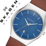 スカーゲン腕時計[SKAGEN時計]スカーゲン時計[SKAGEN腕時計]スカーゲン腕時計[SKAGEN時計]グレーネンGrenenメンズ/レディース/ブルーSKW6160[人気/新作/流行/ブランド/防水/革ベルト/レザー/シンプル/北欧/薄型/ブラウン/シルバs−/プレゼント][送料無料]