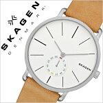 スカーゲン腕時計[SKAGEN時計]スカーゲン時計[SKAGEN腕時計]スカーゲン腕時計[SKAGEN時計]ハーゲンHagenメンズ/レディース/ホワイトSKW6215[人気/新作/流行/ブランド/防水/革ベルト/レザー/北欧/薄型/ブラウン/プレゼント/ギフト][送料無料]