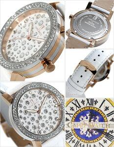 カプリウォッチ腕時計[CAPRIWATCH時計]カプリウォッチ時計[CAPRIWATCH腕時計]マルチジョイMultiJoyレディース/ホワイトCAPRI-5109-WH[人気/新作/トレンド/ブランド/防水/革ベルト/ピンクゴールド/かわいい/スワロフスキー/クリスタル/イタリア][送料無料]