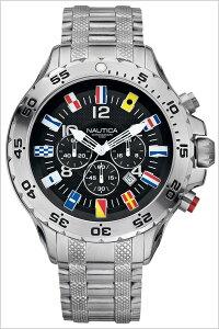 【5年保証対象】ノーティカ腕時計[NAUTICA時計]ノーティカ時計[NAUTICA腕時計]NSTクロノフラッグNSTCHRONOFLAGメンズ/ブラックA29512G[アメリカ/サーフィン/マリンスポーツ/新作/防水/アナログ/クロノグラフ/メタルベルト/ブラック/ブランド][送料無料]