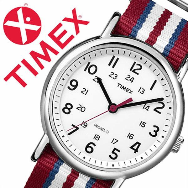 【5年保証対象】タイメックス 腕時計 TIMEX 時計 タイメックス 時計 TIMEX 腕時計 ウィークエンダー セントラル パーク フル サイズ Weekender Central Park FULL SIZE メンズ ホワイト T2N746 人気 ブランド NATO ベルト ナトー ファッションウォッチ シルバー レッド