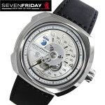 セブンフライデー腕時計[SEVENFRIDAY時計]セブンフライデー時計[SEVENFRIDAY腕時計]ブイシリーズVSERIESメンズ/シルバーV1-01[革ベルト/レザー/機械式/自動巻/自動巻き/メカニカル/スイス/ブラック/ホワイト/V1/01/プレゼント/ギフト][送料無料]
