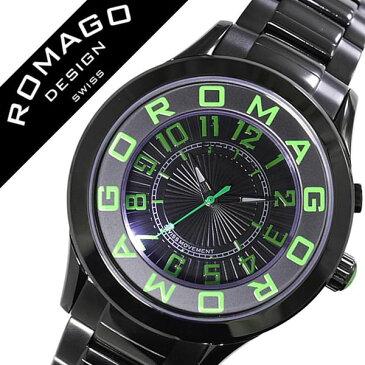 ロマゴ 腕時計 ROMAGO 時計 ロマゴ デザイン 時計 ROMAGO DESIGN 腕時計 ロマゴデザイン ROMAGODESIGNアトラクション ATTRACTION メンズ レディース ブラック RM015-0162SS-LUGR おしゃれ デザイン 文字盤 光る ブランド 個性派 メタル ベルト グリーン 送料無料