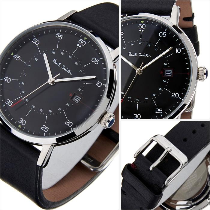 シルバー PAUL SMITH ポールスミス メンズP10051 ブラックレザー 腕時計 【今ならお得クーポン有り】 時計