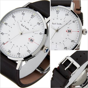 ポールスミス腕時計[PaulSmith時計]ポールスミス時計[PaulSmith腕時計]ポールスミス腕時計ゲージGAUGEメンズ/ホワイトP10072[革ベルト/ブラック/シルバー/新作/人気/ブランド/ビジネス/シンプル/プレゼント/ギフト][送料無料]