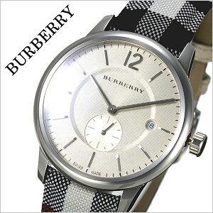 バーバリー時計[BURBERRY腕時計]バーバリーロンドン腕時計[BURBERRYLONDON時計]メンズ/ベージュBU10002[おすすめ/ブランド/プレゼント/ギフト/おしゃれ/オシャレ/レザー/革/キャンバス/ホワイト/シルバー/チェック柄][送料無料]