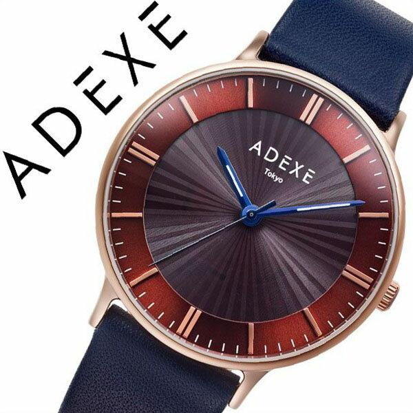 アデクス 腕時計 ADEXE 時計 アデクス 時計 ADEXE 腕時計 メンズ レディース ユニセックス ブラウン ADX-1868I-02 [ おしゃれ シンプル ラウンド 日本限定 ロゴ ソーラー ファッションウォッチ カジュアル スーツスタイル オフィス ブルー 革 レザー プレゼント ギフト ]