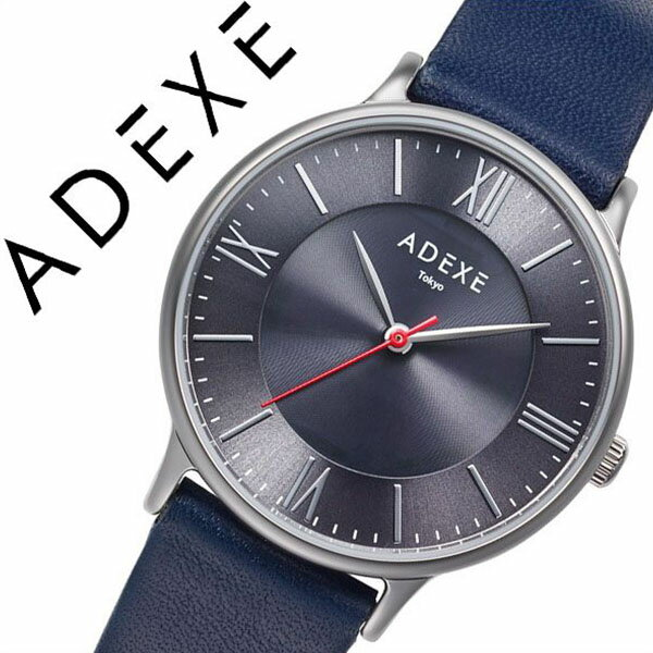 アデクス 腕時計 ADEXE 時計 アデクス 時計 ADEXE 腕時計 レディース グレー ADX-1870E-01 [ おしゃれ シンプル ラウンド 日本限定 ロゴ ソーラー ファッションウォッチ カジュアル スーツスタイル オフィス ブルー 革 レザー プレゼント ギフト ]