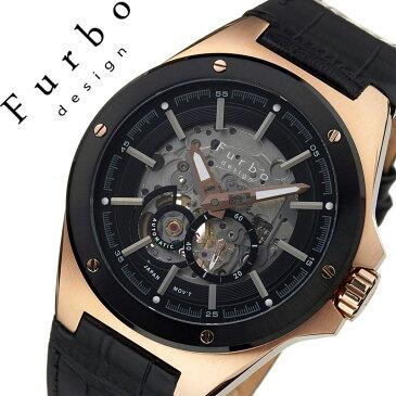 【5年保証対象】フルボデザイン 腕時計 Furbodesign 時計 フルボ デザイン 時計 Furbo design 腕時計 メンズ ブラック F2501PBKBK [ ブランド 防水 レザー スーツ 革 ビジネス カジュアル おしゃれ 機械式 メカニカル スケルトン プレゼント ギフト ][送料無料]