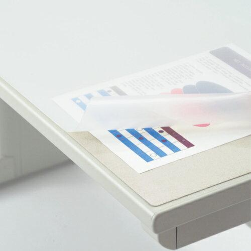ライオン事務器 デスクマット 再生オレフィン製 ノングレア仕上 ダブル(グレーフェルト付) 900×620×1.5mm No.7−FR 1枚