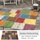 BandanaPatchworkRug140cm×200cmバンダナパッチワークラグマルチカラーカーペット絨毯ラグマットリビング寝室エスニック[送料無料][AA-0004]pachakagu